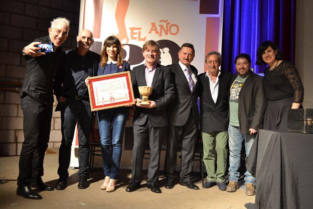 I. Aláez, M. Mena, C. Pemán, directora del Festival; G.Urresti, V. Herráiz, exalcalde de La Almunia; L. Varela, J. Asín y R. Viejo, codirectora deFesciLA